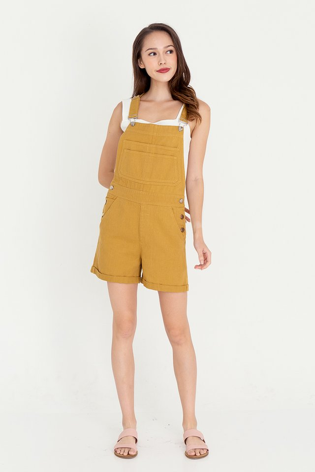 *IN STOCK* Daisee Dungaree Denim Playsuit (Camel)