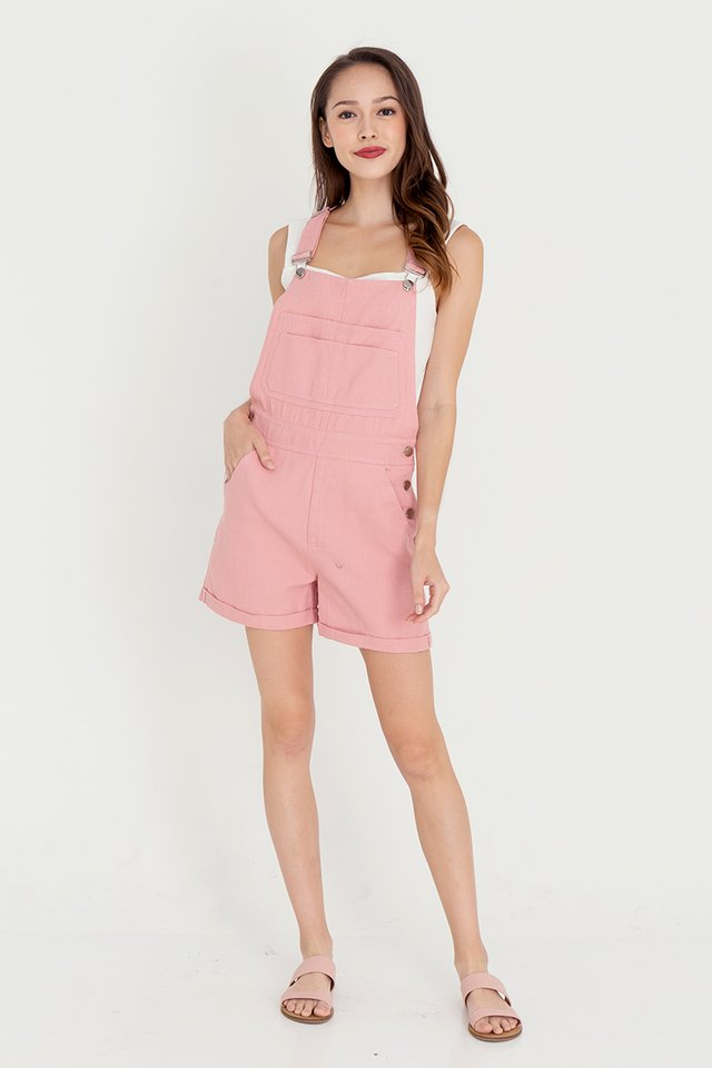 *IN STOCK* Daisee Dungaree Denim Playsuit (Pink)