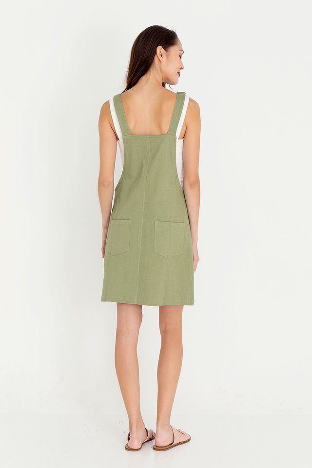 Devon Dungaree Denim Dress (Green)