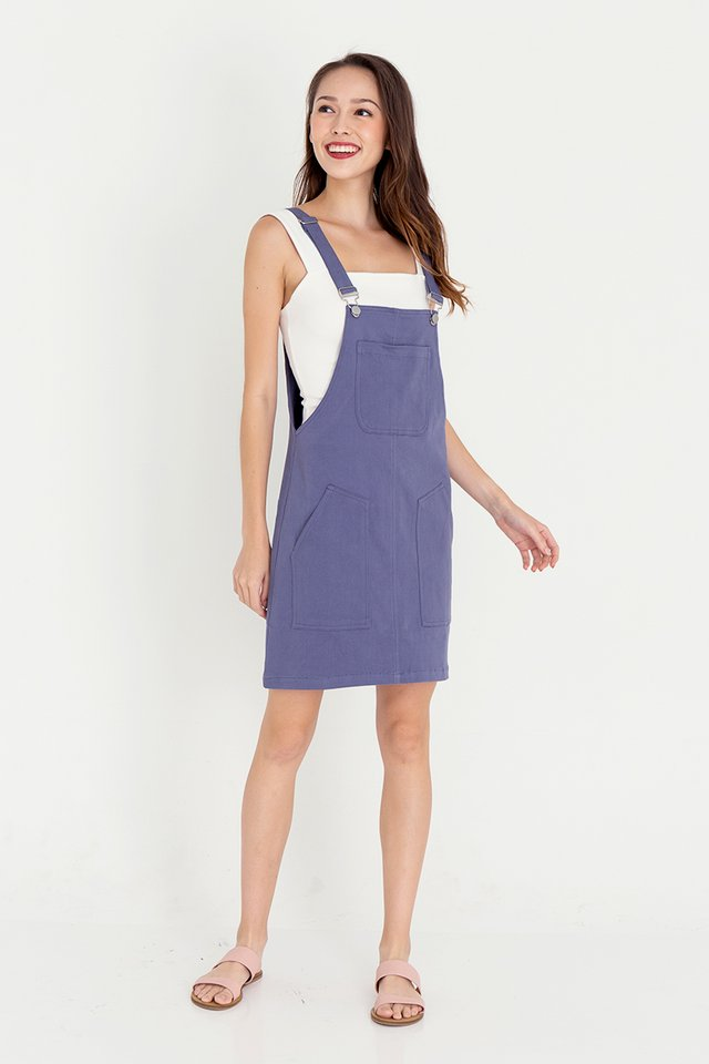 Devon Dungaree Denim Dress (Blue)