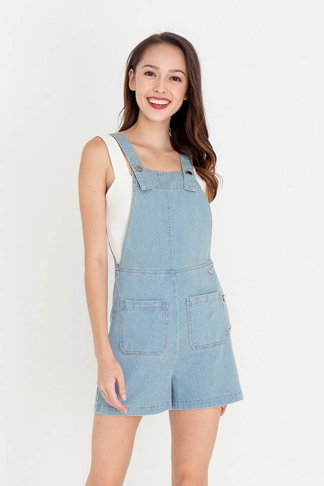 Steph Dungaree Denim Playsuit (Light Blue)