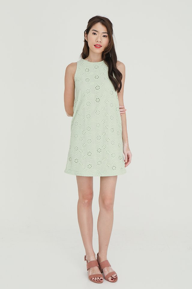 Erika Removable Hem and Collar Eyelet Midi Dress (Green)