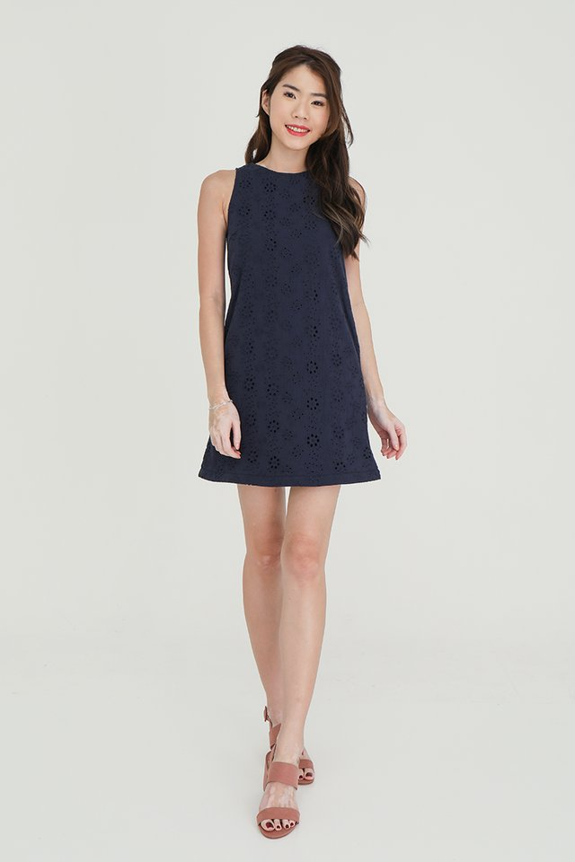 Erika Removable Hem and Collar Eyelet Midi Dress (Navy Blue)