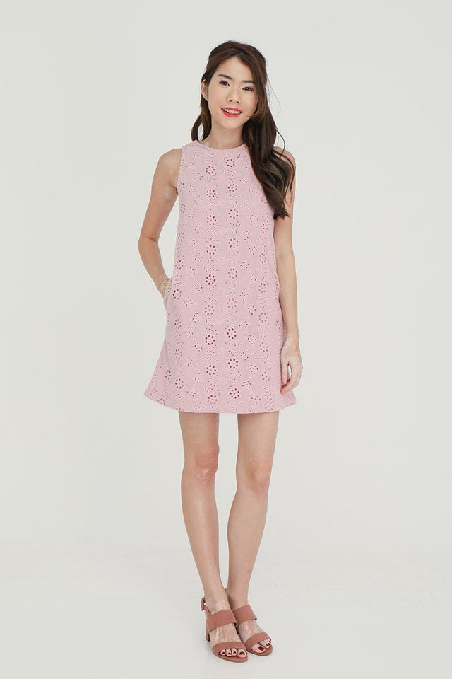 Erika Removable Hem and Collar Eyelet Midi Dress (Pink)
