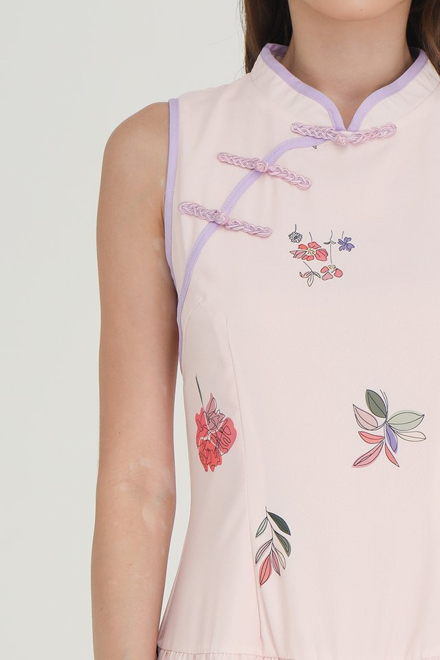 Jamie Triple Tier Floral Cheongsam Dress (Pink)