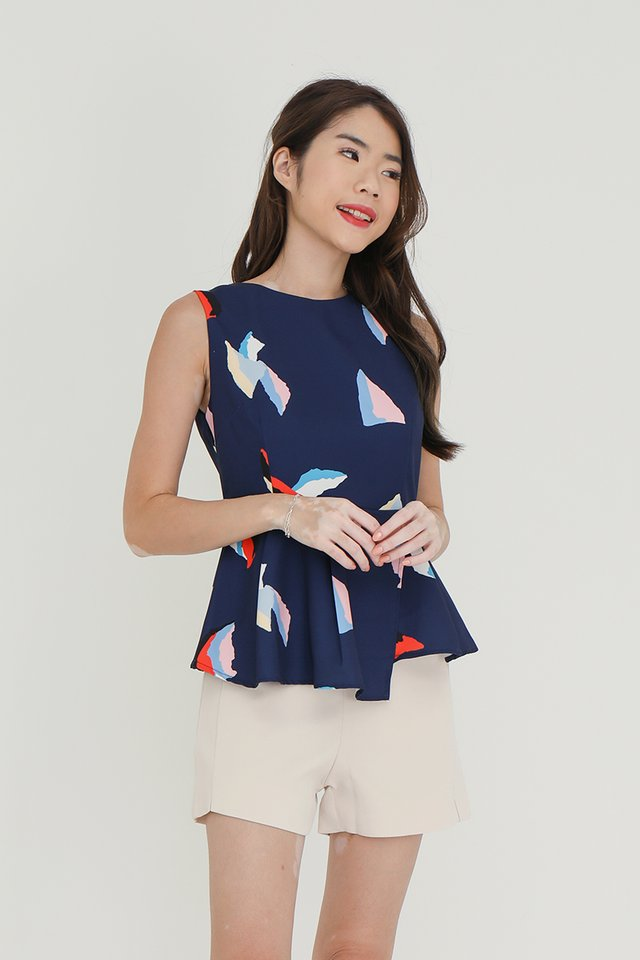 Swift Detachable Collar Peplum Top (with matching fabric face mask) (Navy)