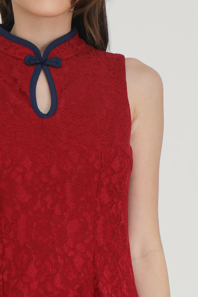 *IN STOCK* Sonia Keyhole Lace Playsuit (Red)