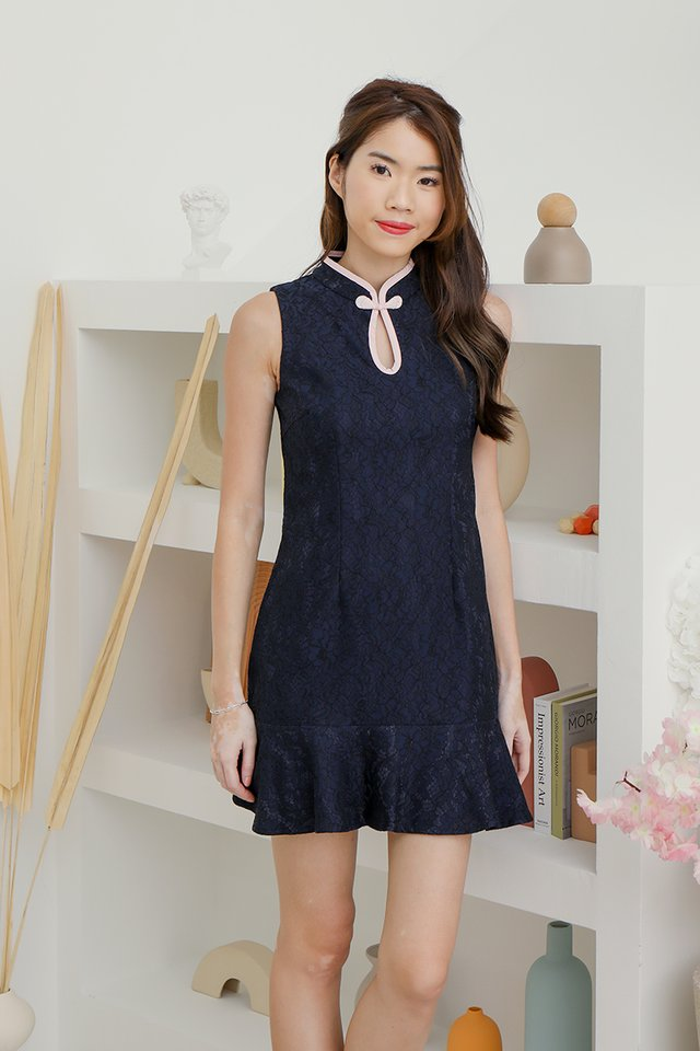 *IN STOCK* Sonia Keyhole Lace Playsuit (Navy Blue)