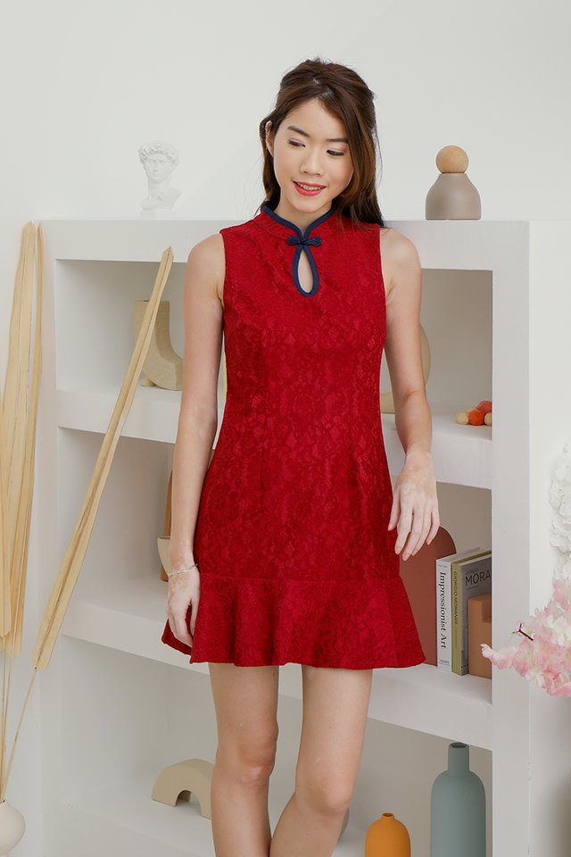 Sonia Keyhole Lace Playsuit (Red)