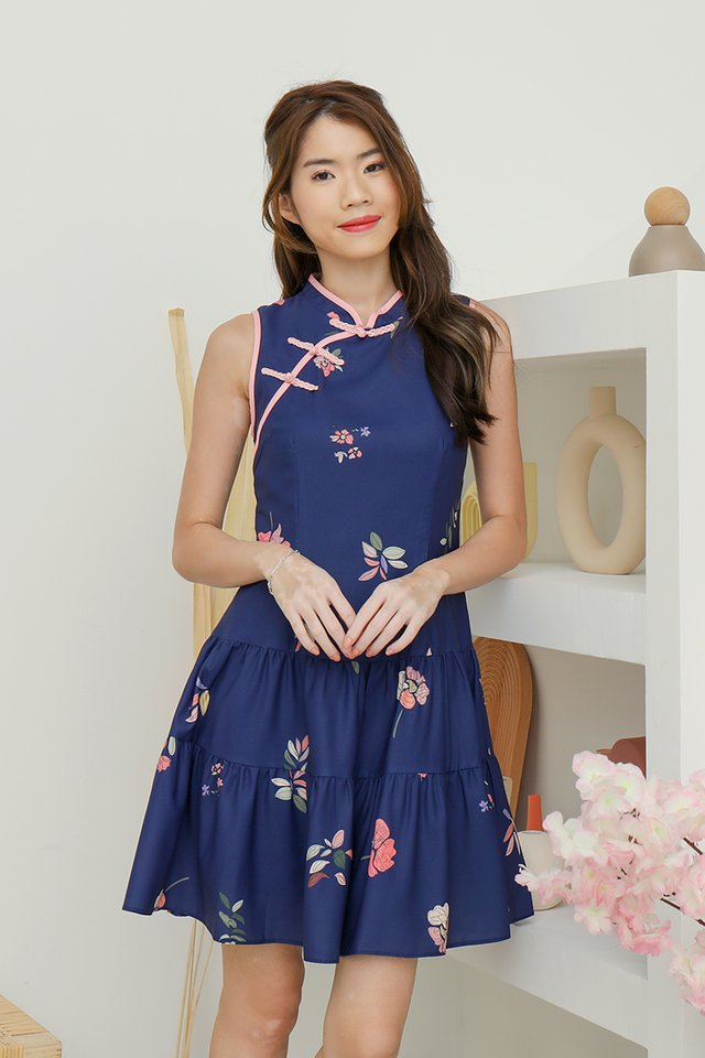 Jamie Triple Tier Floral Cheongsam Dress (Navy Blue)