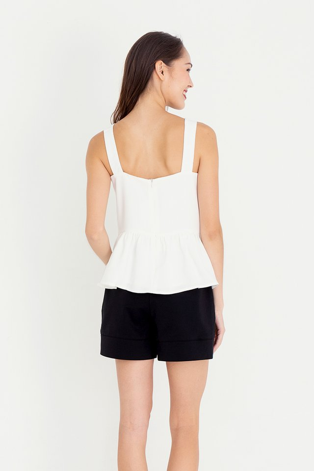 *IN STOCK* Buttons Peplum Top (White)