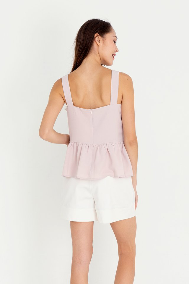 Buttons Peplum Top (Pink)