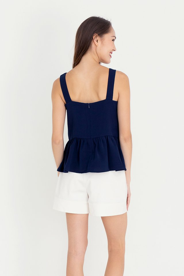 Buttons Peplum Top (Navy Blue)