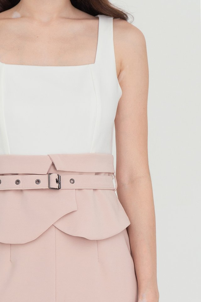 Ansley Two Tone Peplum Dress (White/Pink)