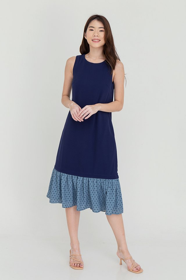 Brianna Detachable Dual Hem Midi Dress (Navy Blue)