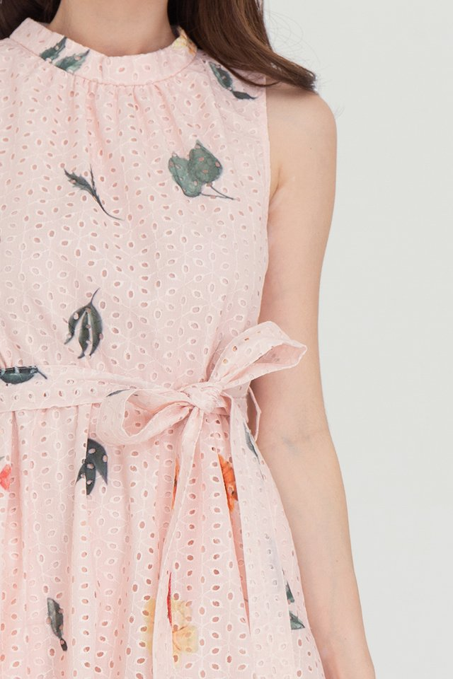 Lia Printed Eyelet Midi Dress (Pink)