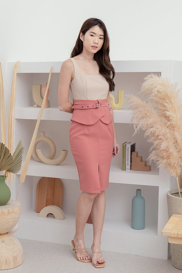 *PRE-ORDER* Ansley Two Tone Peplum Dress (Sand/Rose)