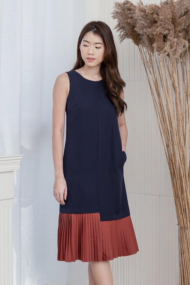 Ariana Pleated Hem Midi Dress (Navy Blue)
