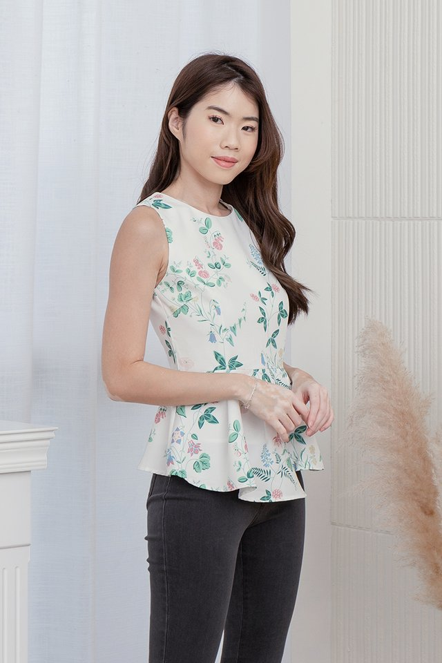 Elmer Detachable Collar Peplum Top (with matching fabric face mask) (White)