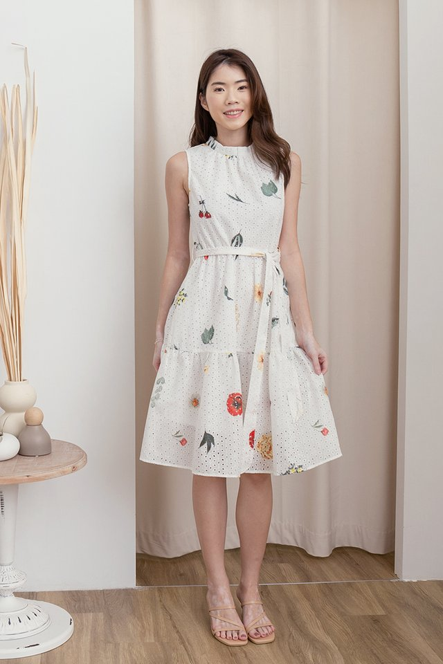 Lia Printed Eyelet Midi Dress (White)
