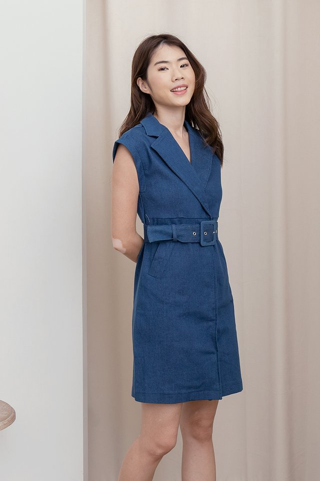 Tayonna Denim Dress (Dark Blue)