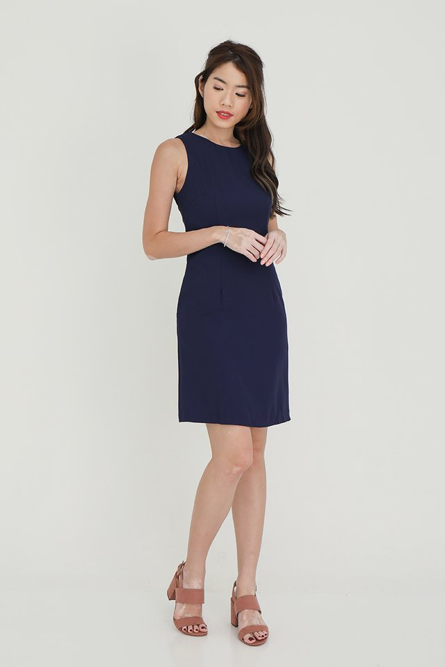 Aileen Detachable Collar Shift Dress (Navy Blue)