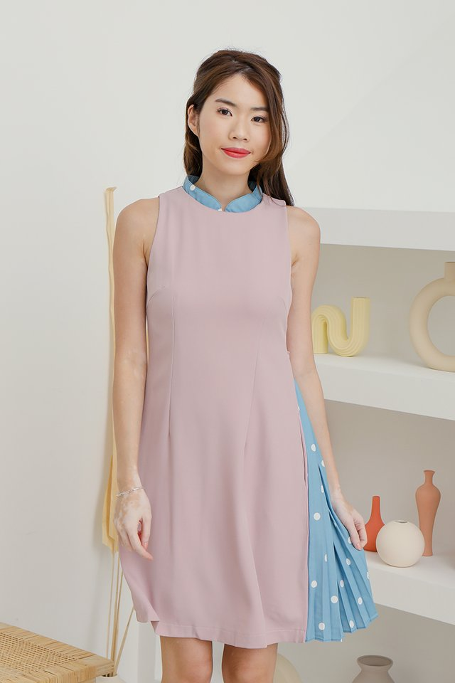 Aileen Detachable Collar Shift Dress (Pink)