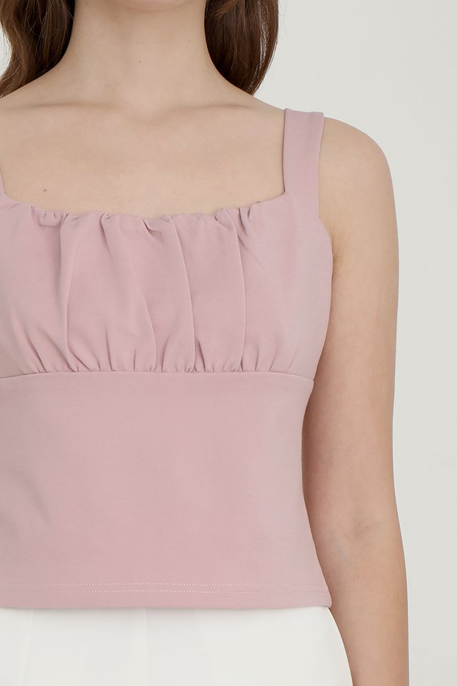 Heiley Basic Ruched Top (Pink)