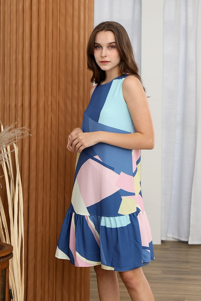 Tessley Abstract Reversible Dress (Navy Blue)
