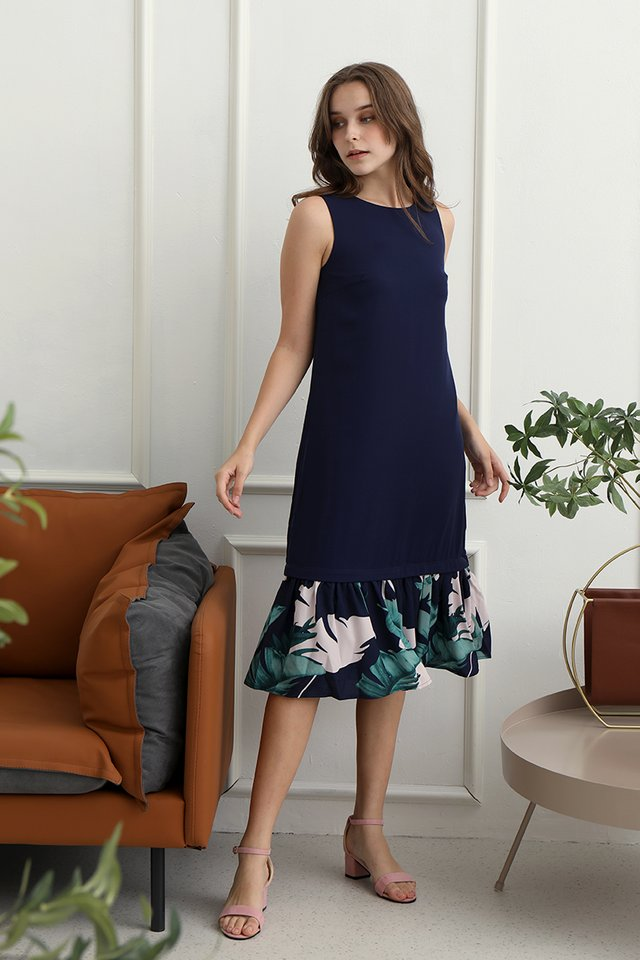 Danielle Tropical Dual Hem Midi Dress (Navy Blue)