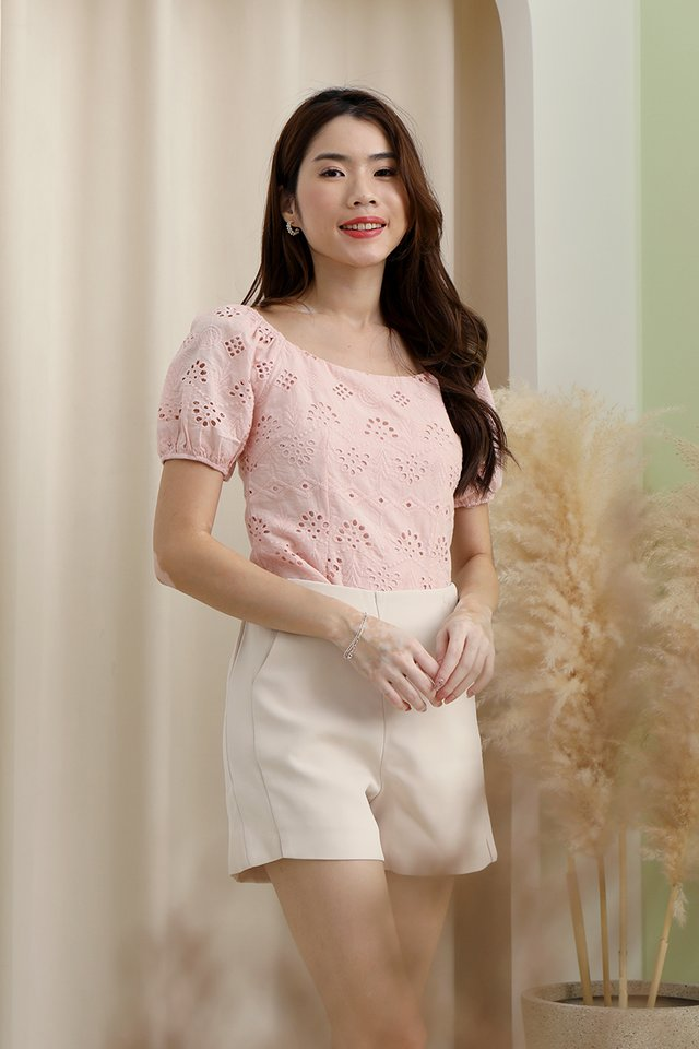Mullins Puffy Sleeve Eyelet Top (Pink)