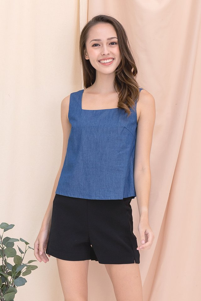 Vera Two-way Top (Mid Denim)
