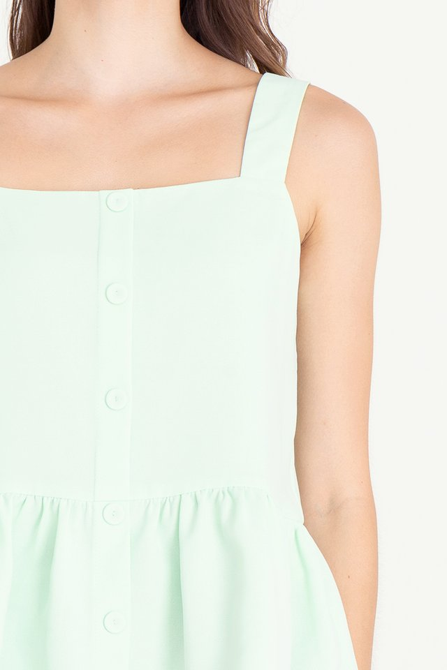 Buttons Peplum Top (Mint Green)