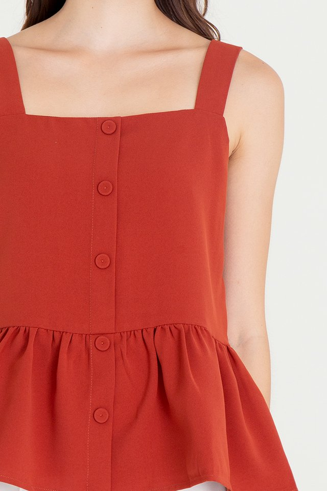 Buttons Peplum Top (Brick Red)