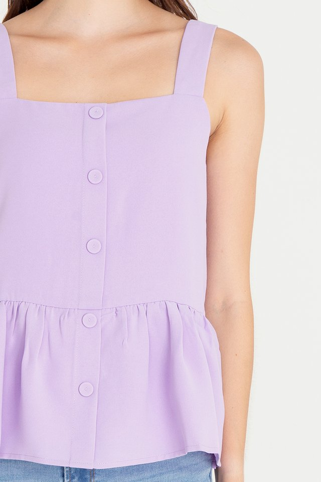 Buttons Peplum Top (Lilac)
