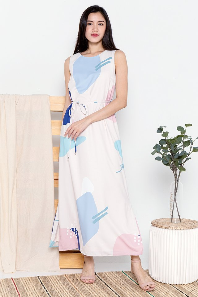 Dale Abstract Maxi Dress (Cream)