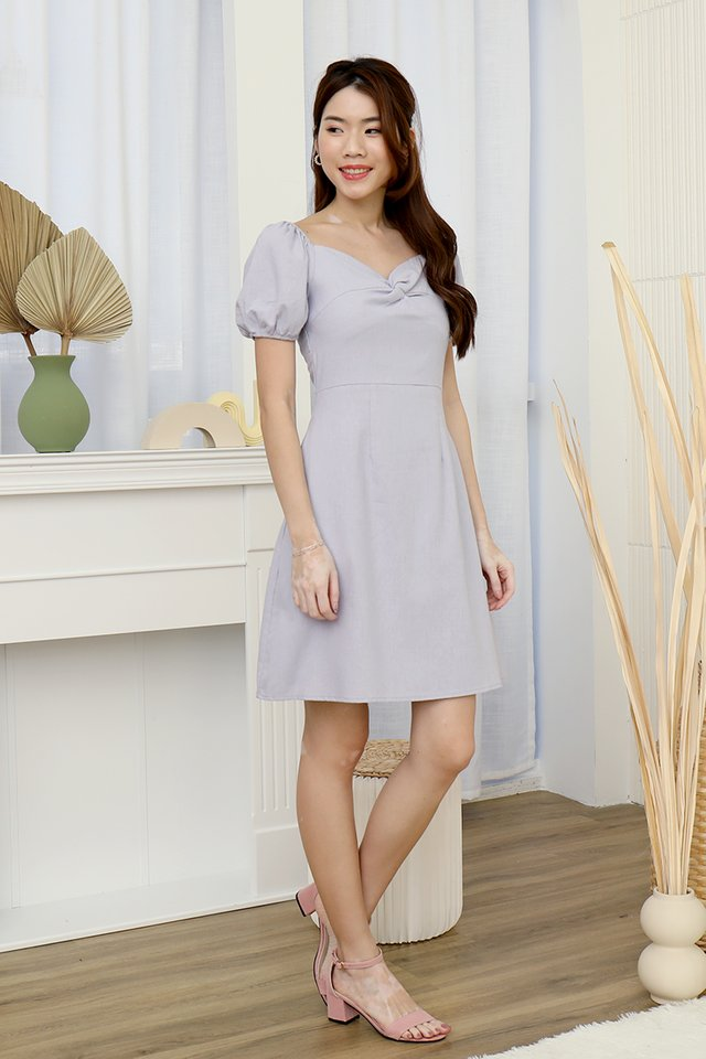 Diane Twist Detail Linen Dress (Lilac)