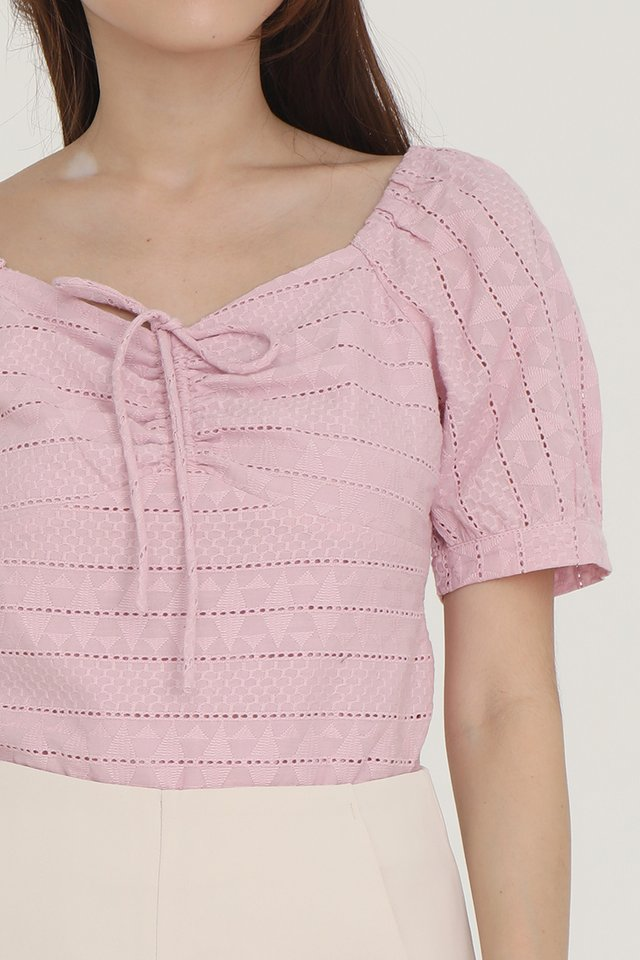 Neveah Eyelet Top (Pink)