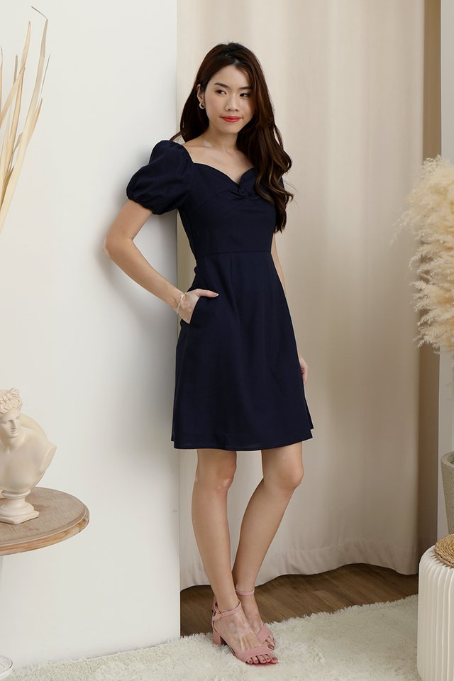 Diane Twist Detail Linen Dress (Navy Blue)