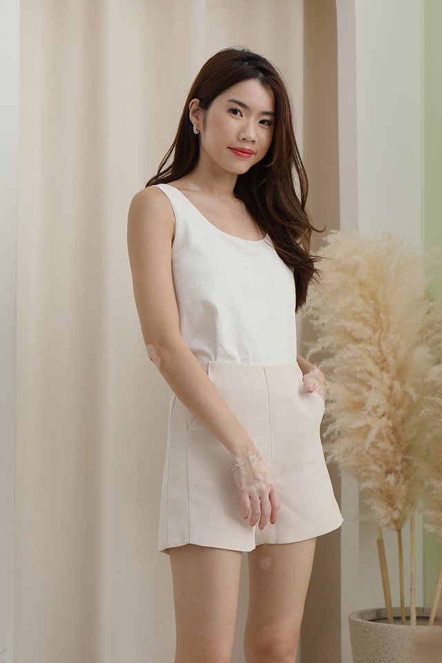 Justina Two-way Linen Top (White)